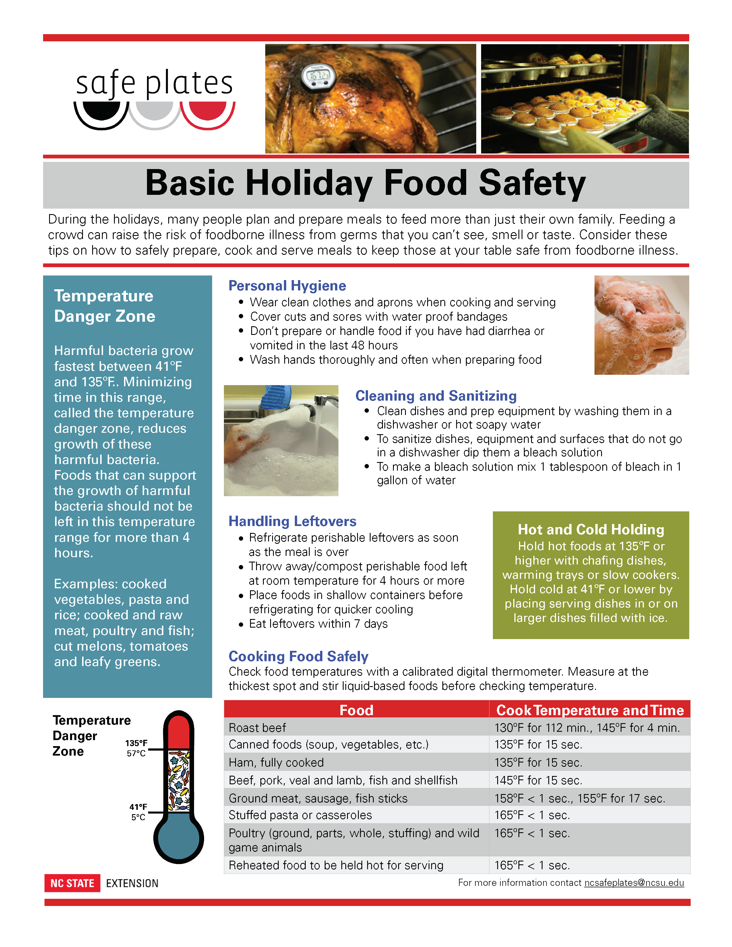 basic holiday food safety sheet by safe plates