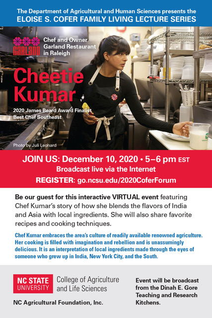 Eloise S. Cofer Family Living Lecture Series: Cheetie Kumar flyer invitation with info and registration link