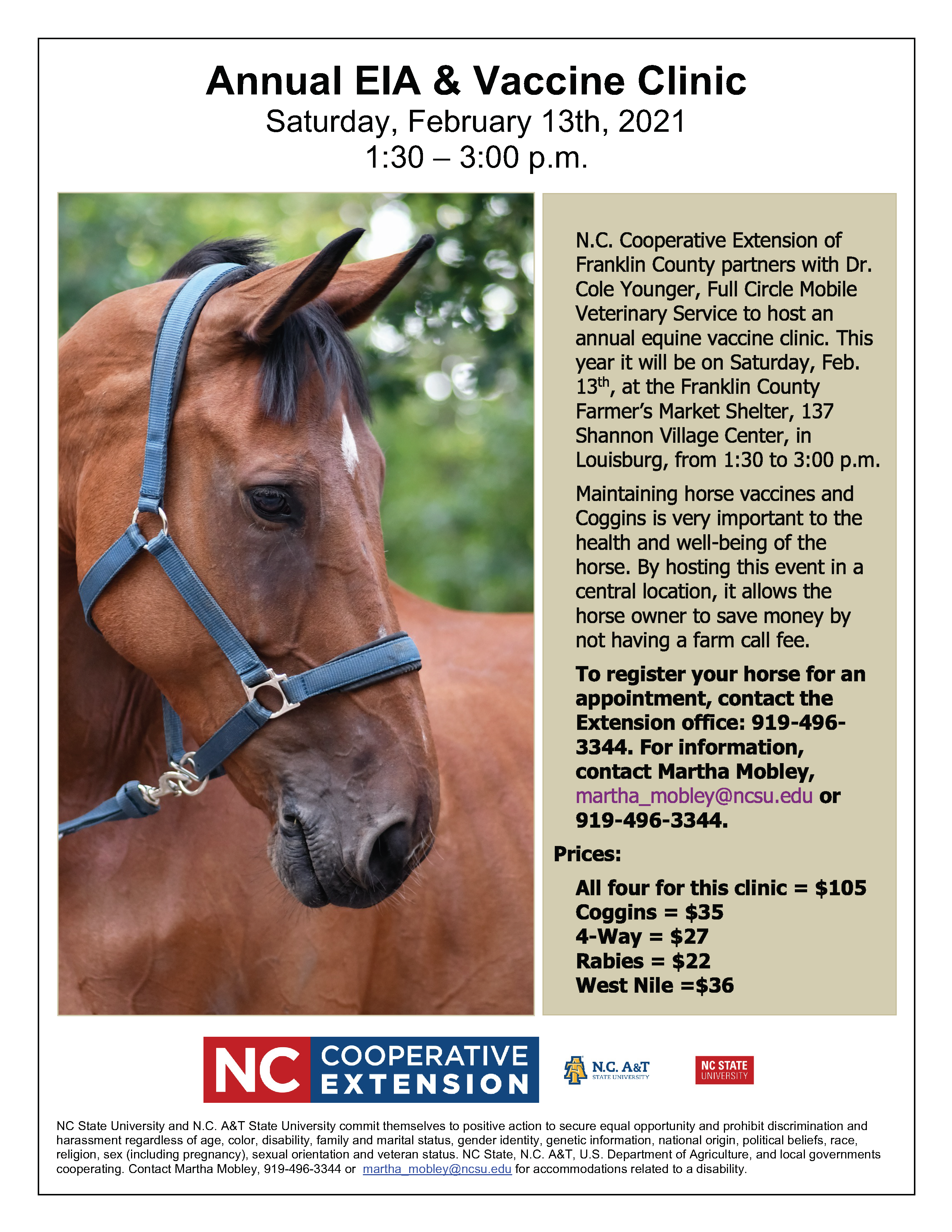 image of 2021 Franklin County Horse EIA-Coggins Clinic flyer