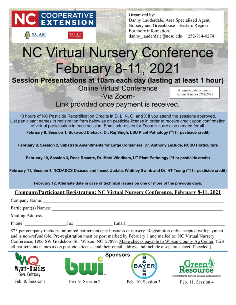image of 2021 NC Virtual Nursery Conference flyer