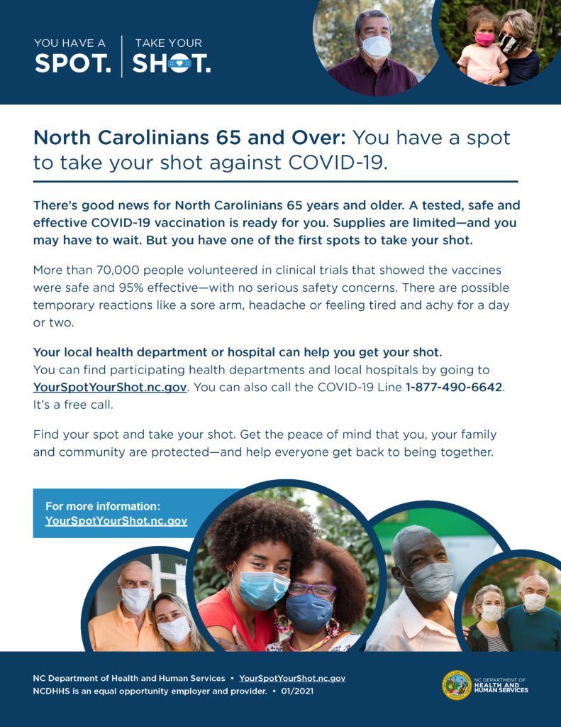 image of NC Dept. of Health & Human Services COVID Vaccine informational flyer for age 65 and up