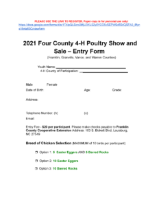 2021 Four County 4-H Poultry Show and Sale Registration Form