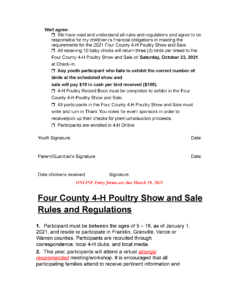 2021 Four County 4-H Poultry Show and Sale entry form/rules page 2