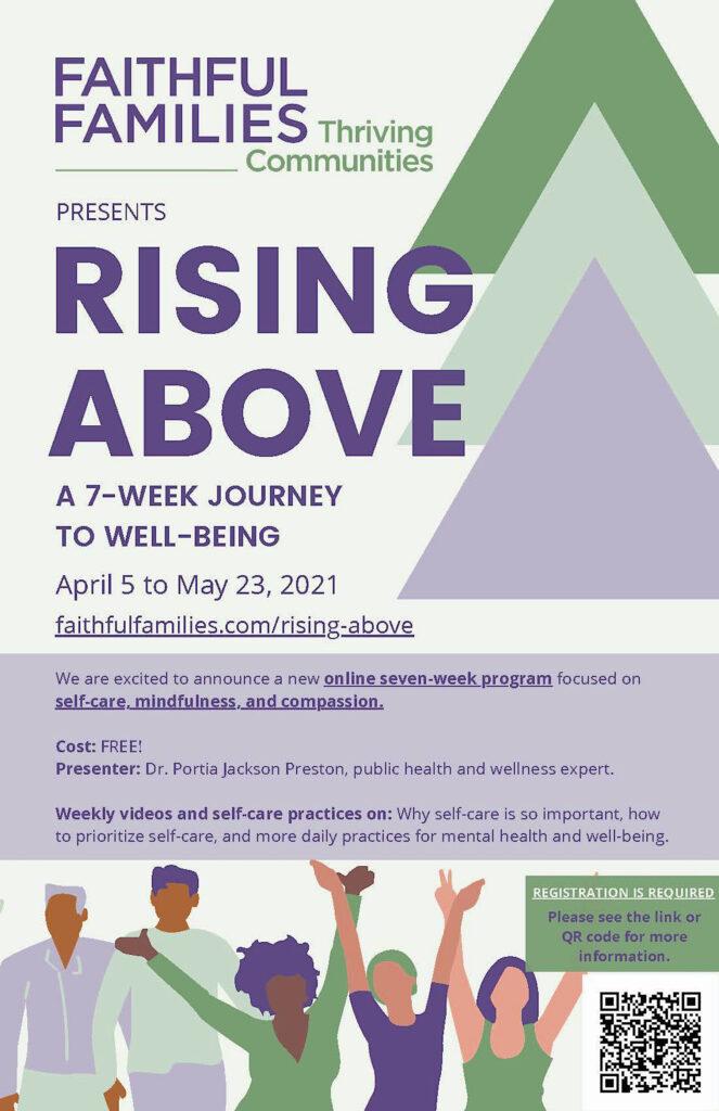 Faithful Families Rising Above program poster
