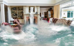 inside of a flooded home