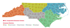 N.C. Cooperative Extension Centers and Districts on state map