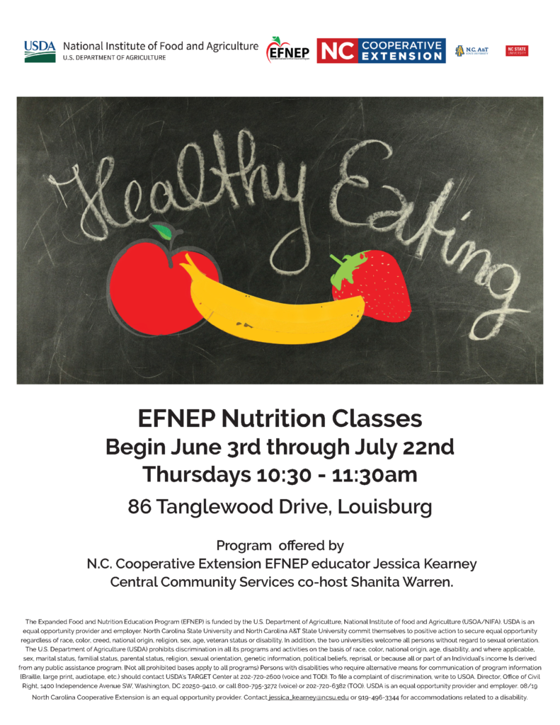 EFNEP Nutrition Classes Flyer with instructors, time, dates and location