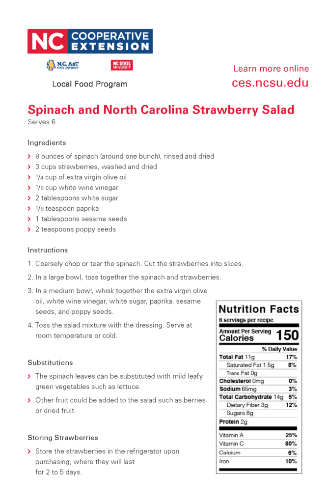 Directions and Ingredients for Spinach and NC Strawberry Salad