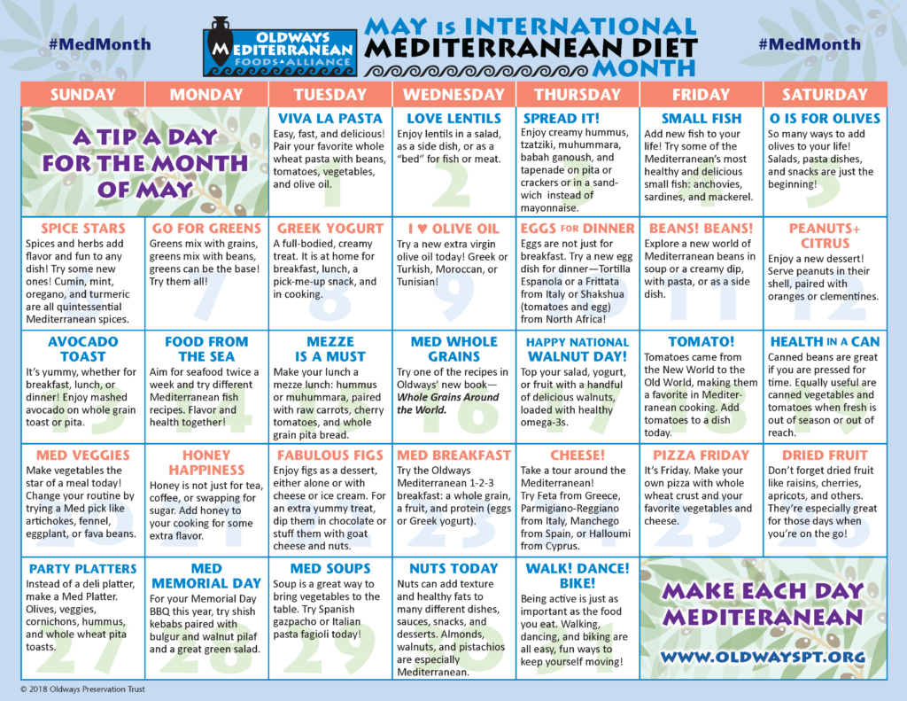 May- Mediterranean Diet Month Calendar
