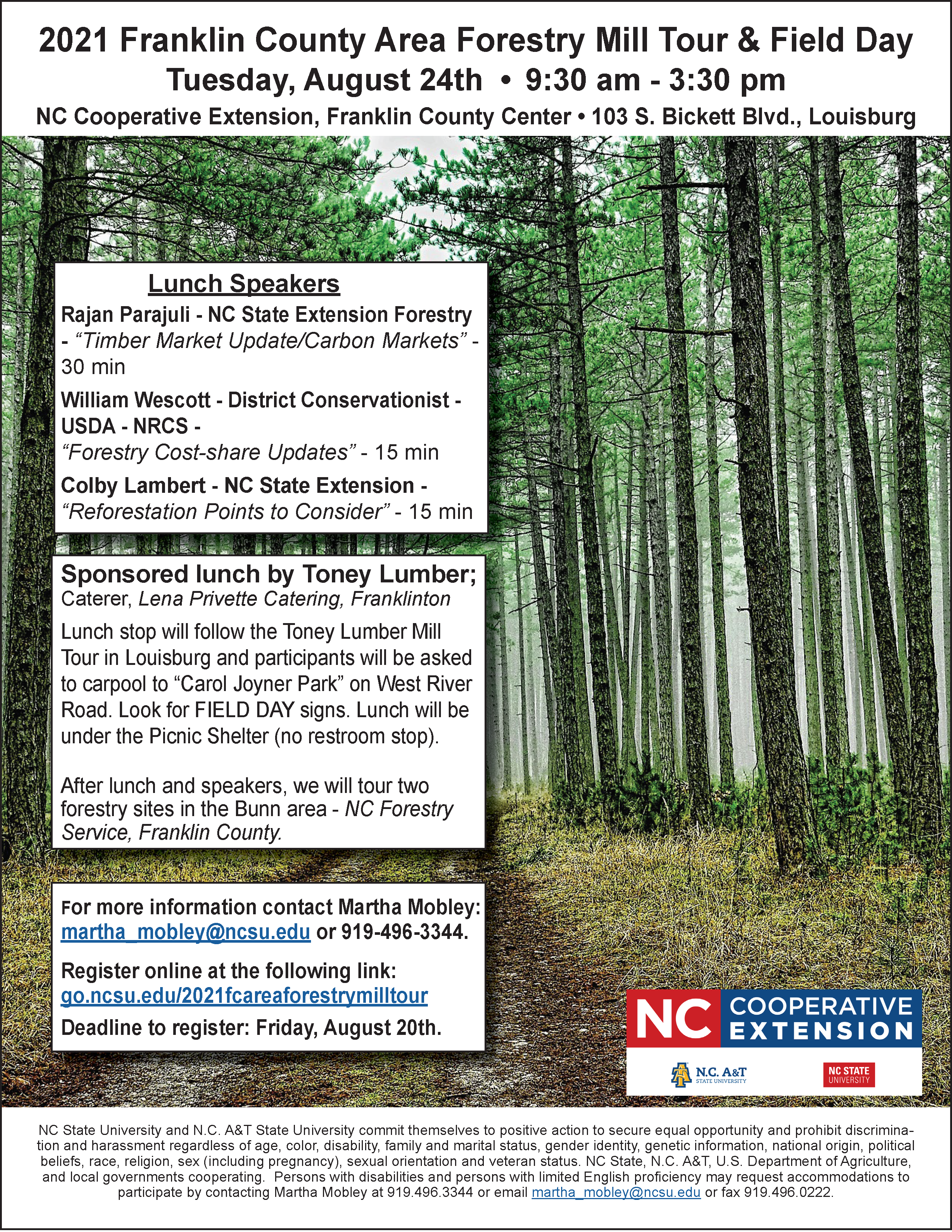 Forestry Mill Tour flyer