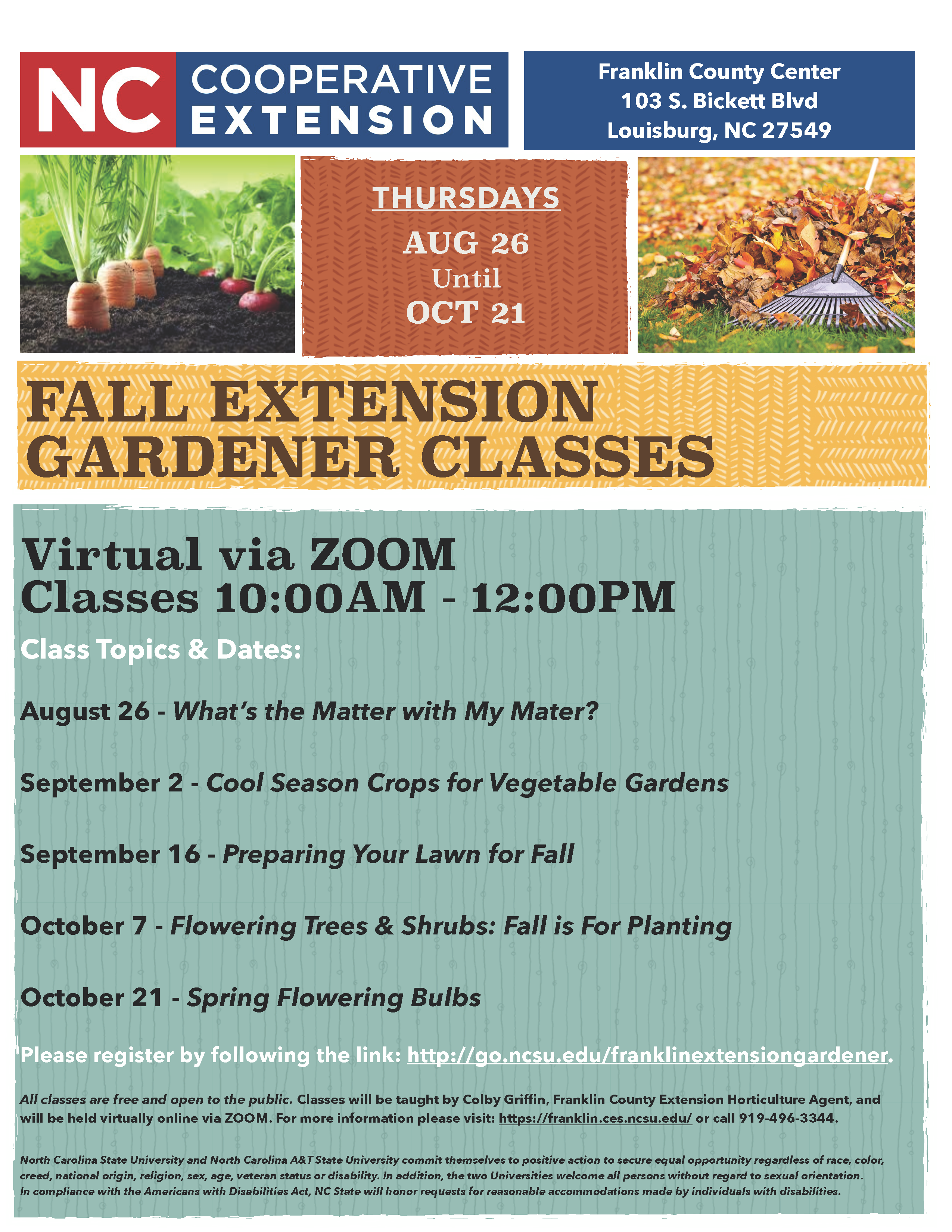 Fall Extension Gardener Classes flyer