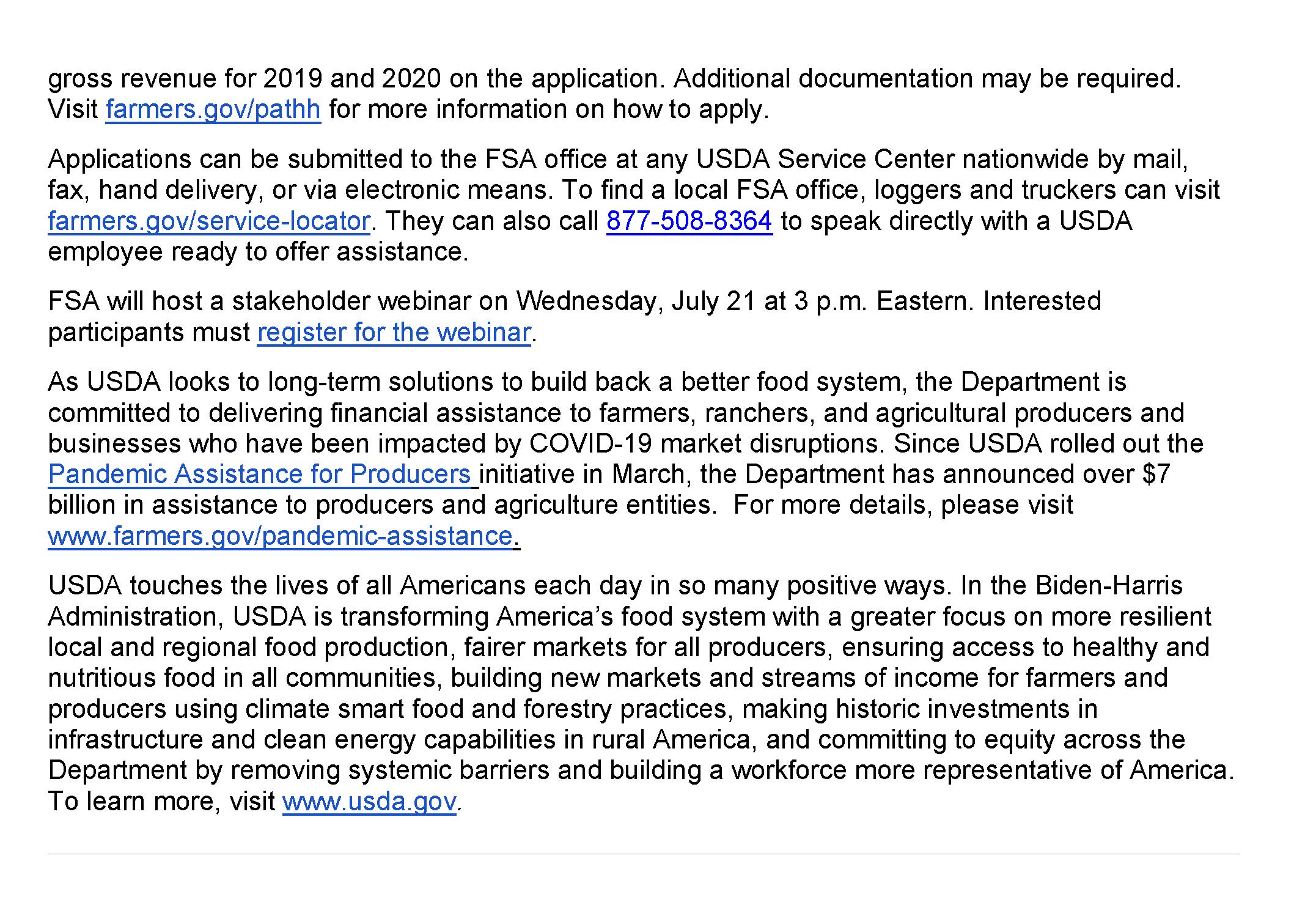 USDA Pandemic Assistance Informstional