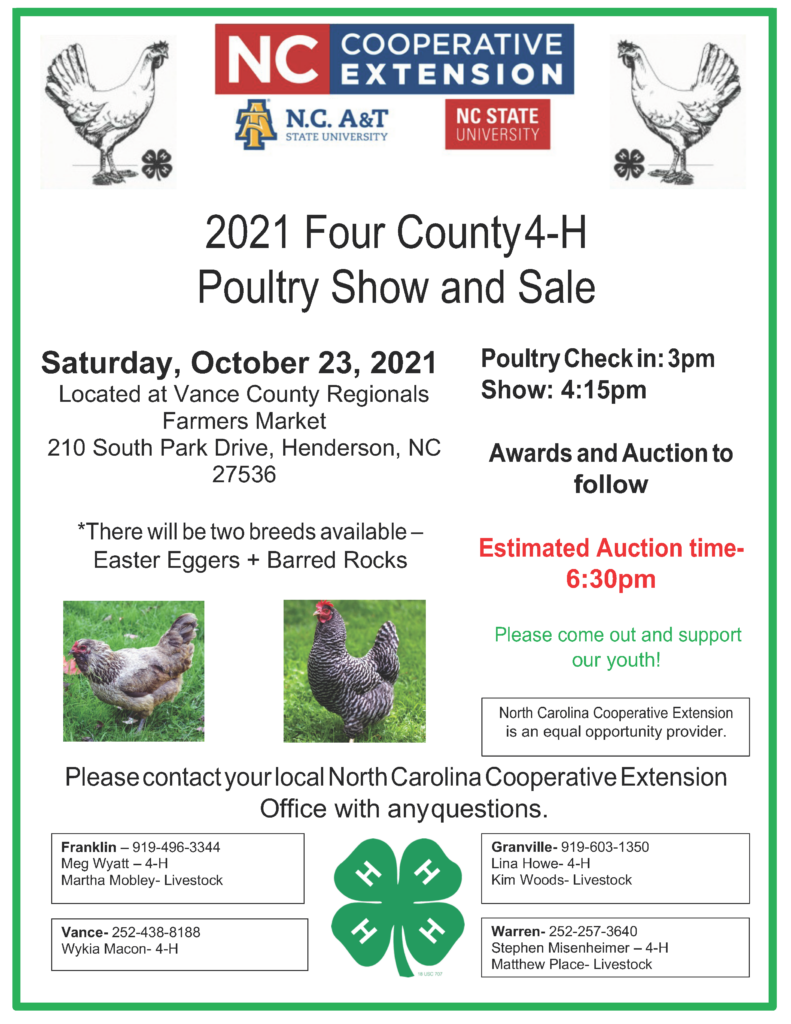 2021 Four County 4-H Poultry Show and Sale flyer