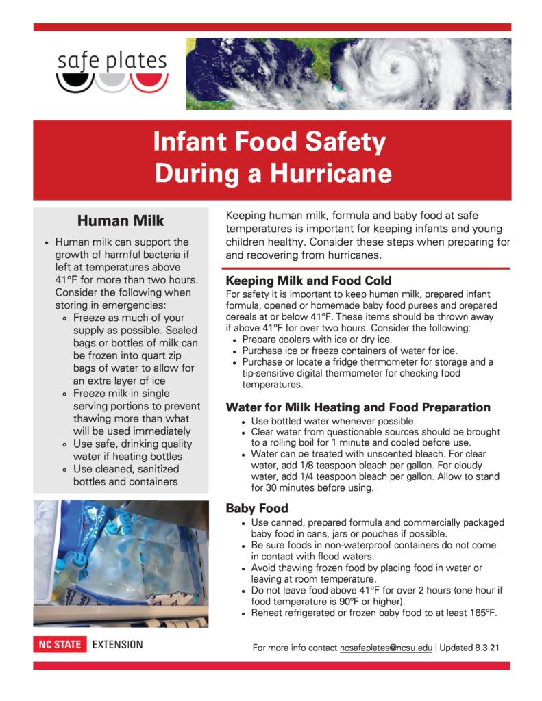 Infant Food Safety During a Hurricane Safeplates