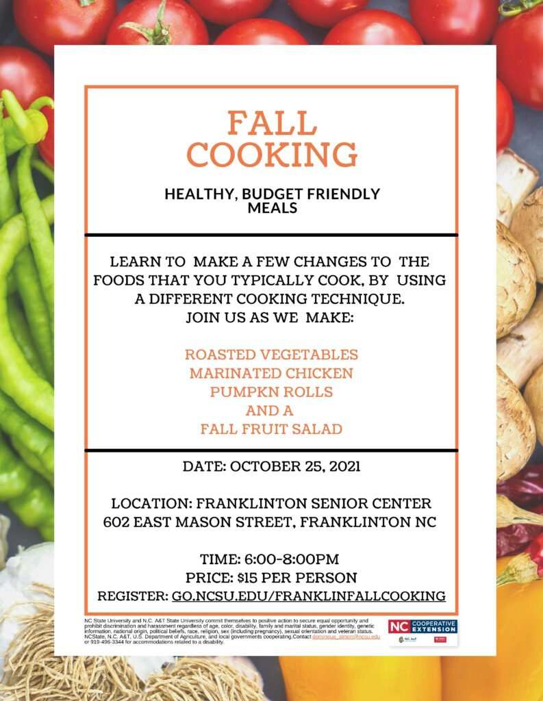 Fall Cooking Class Flyer with date, time, location and cost