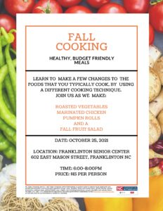 Fall Cooking Class flyer announcing date, time, menu and cost